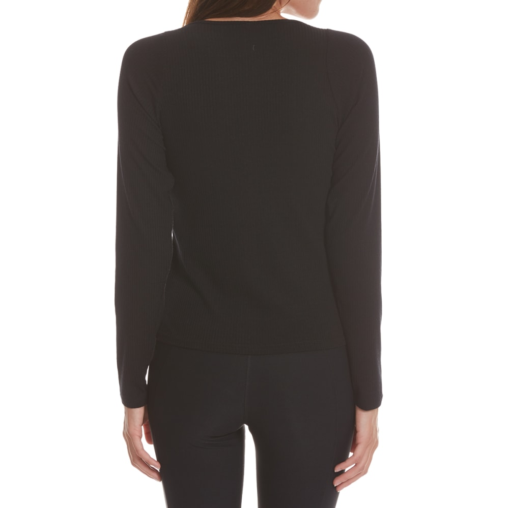POOF Juniors' T-Neck Ribbed Long-Sleeve Top - BLACK