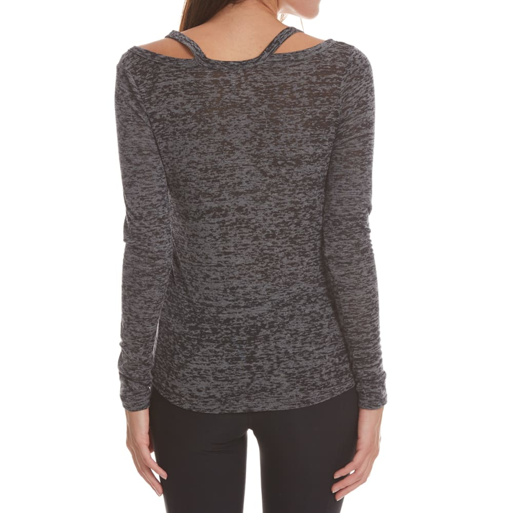 POOF Juniors' Burnout Cutout Long-Sleeve Top - GREY MOON