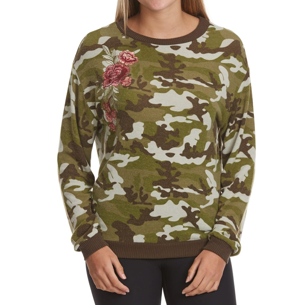 POOF Juniors' Rose Embroidered Camo Snit Long-Sleeve Top - SHADES OF OLIVE CAMO