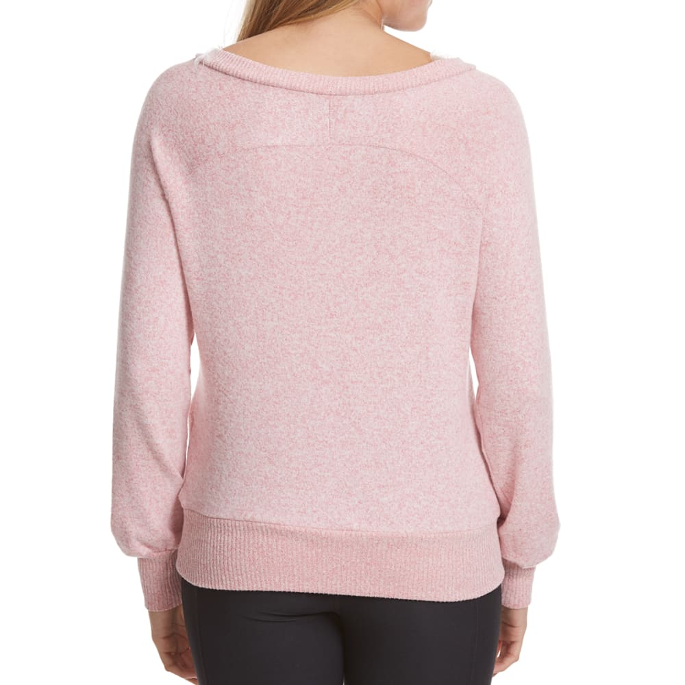 POOF Juniors' Marled Lace-Up Snit Long-Sleeve Pullover - MAUVELOUS/IVORY