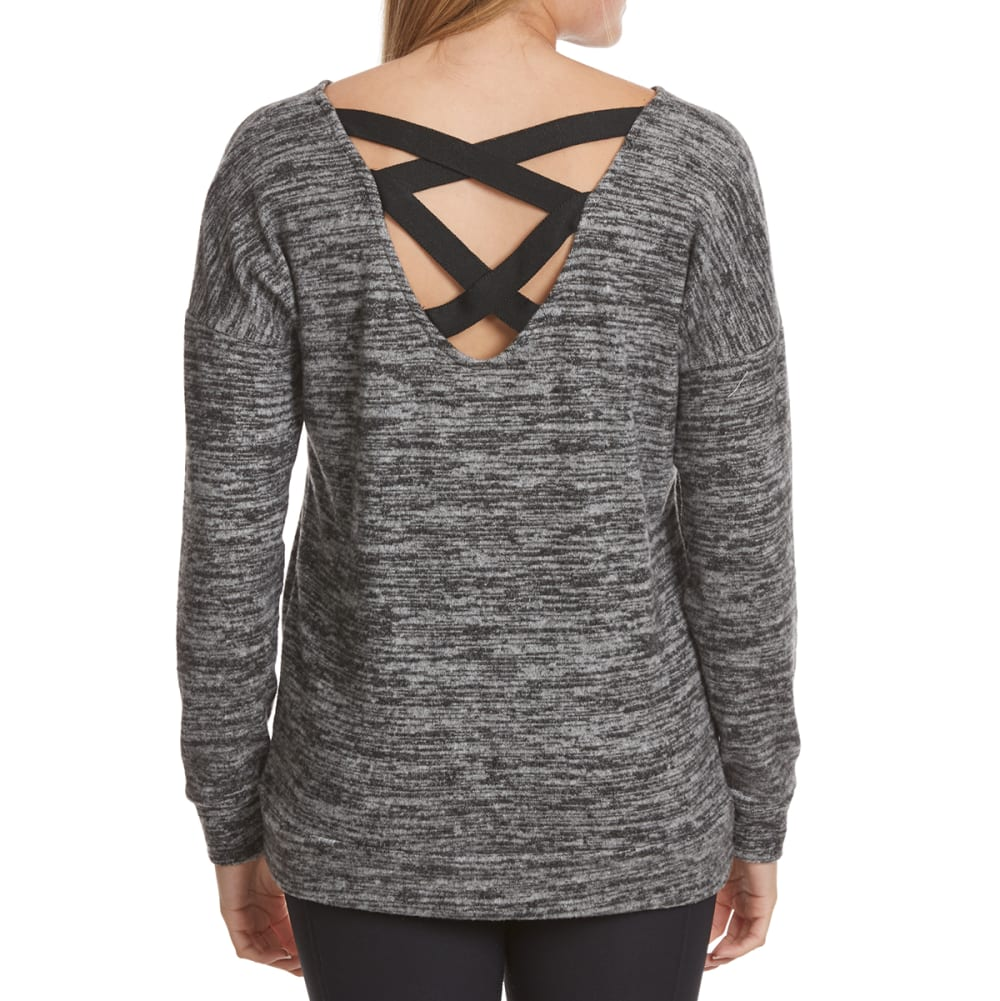 POOF Juniors' Marled Cage Back Snit Long-Sleeve Pullover - BLACK/IVORY MARL