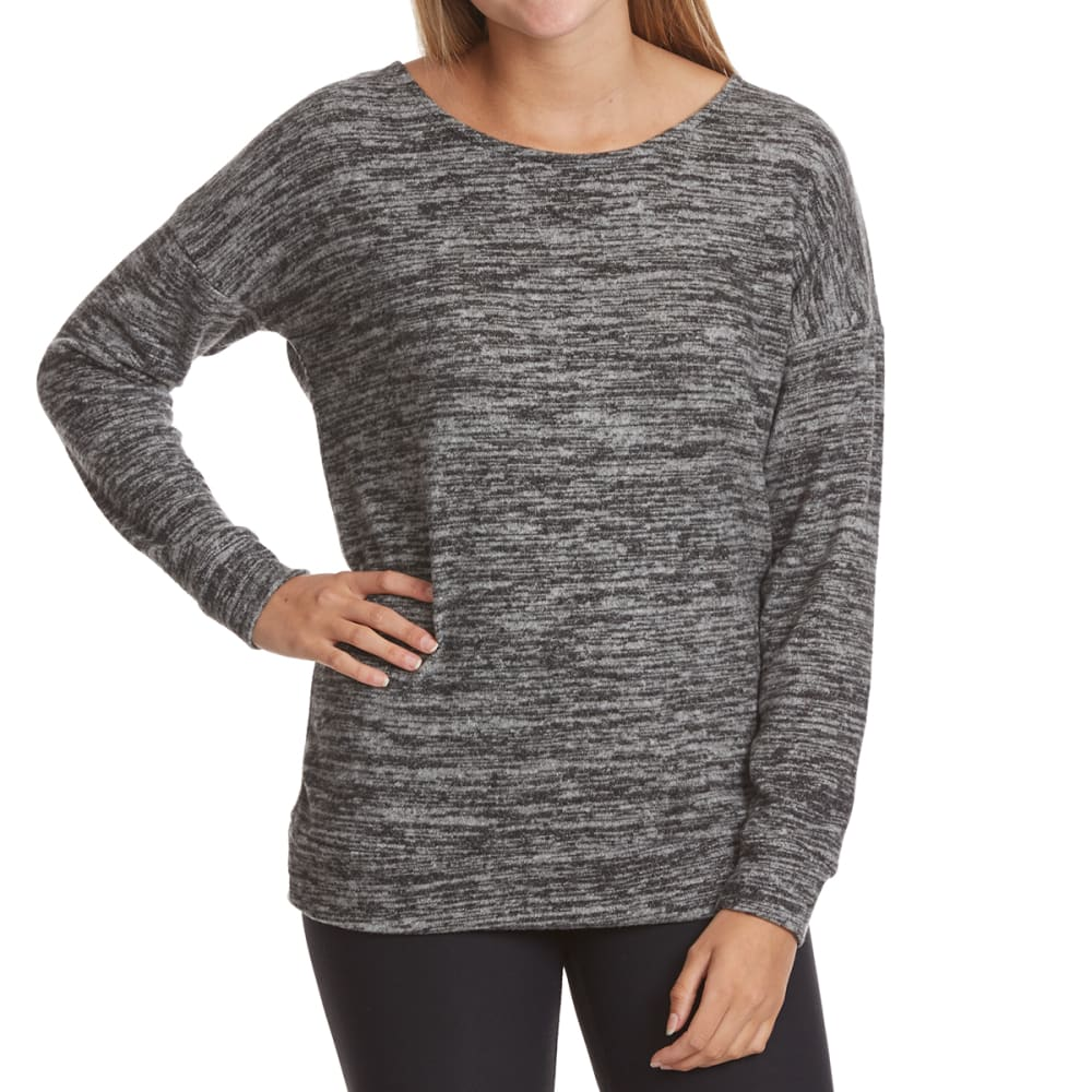 POOF Juniors' Marled Cage Back Snit Long-Sleeve Pullover S