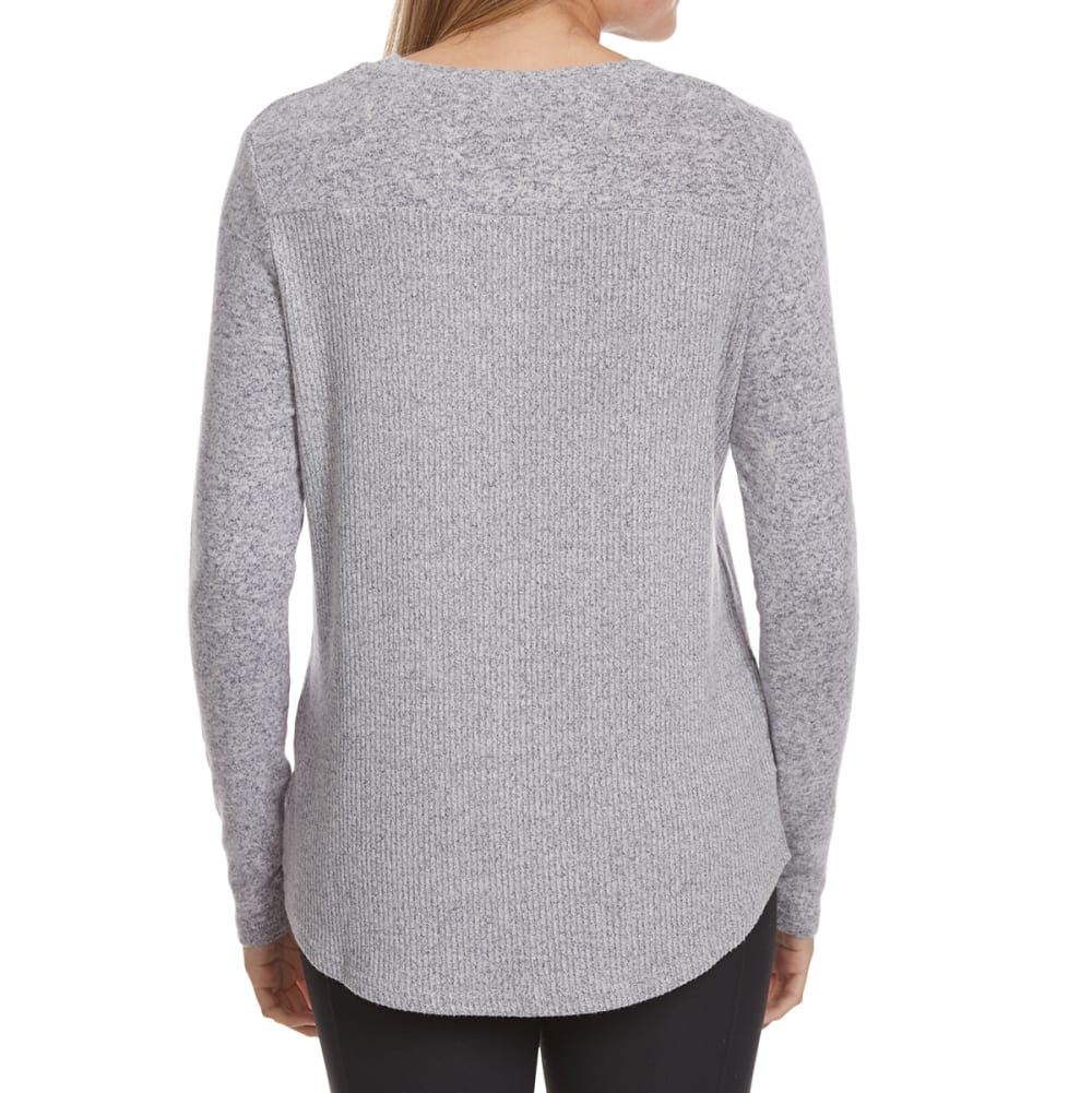 POOF Juniors' Marled High-Low Snit Long-Sleeve Sweater - INDIGO/IVORY MARL