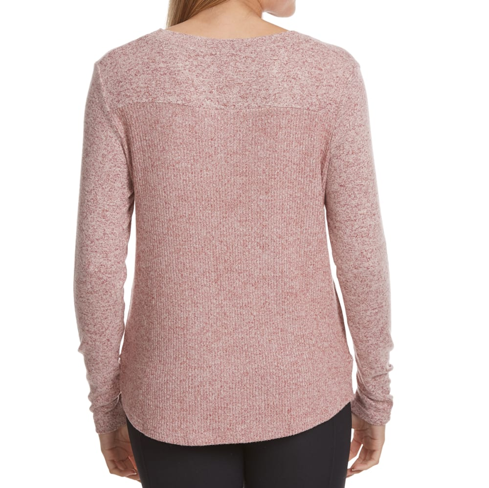 POOF Juniors' Marled High-Low Snit Long-Sleeve Sweater - BURNT ROSE/IVORY MAR