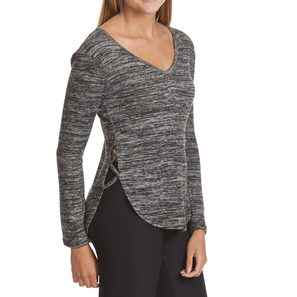POOF Juniors' Marled Cage Side Slit Snit Long-Sleeve Pullover - BLACK/IVORY MARL