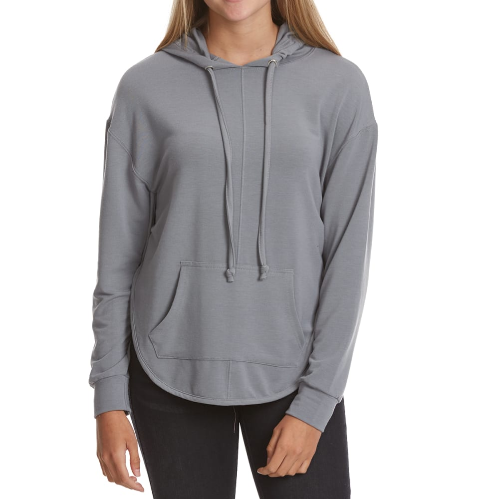 POOF Juniors' French Terry Hoodie with Back Cutouts - SILVER GREY