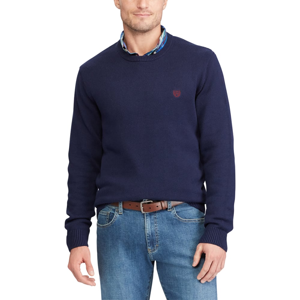 Chaps Men's Solid Crewneck Long-Sleeve Sweater - Blue, M