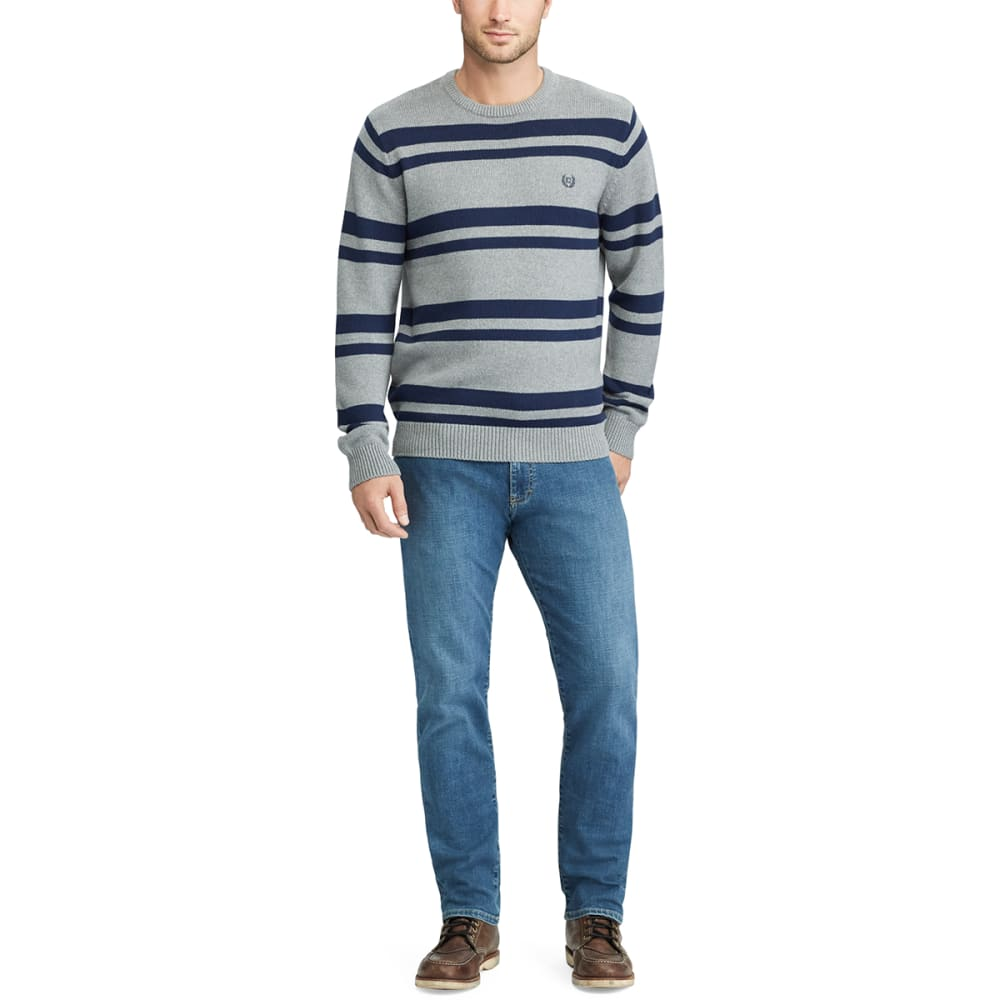 CHAPS Men's Striped Crewneck Long-Sleeve Sweater - STEEL HTR/NVY-001