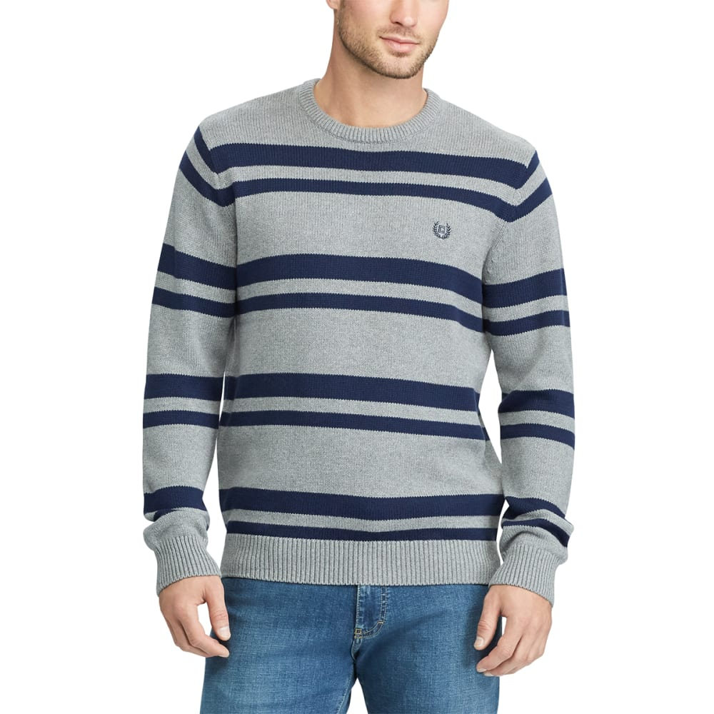 Chaps Men's Striped Crewneck Long-Sleeve Sweater - Black, M
