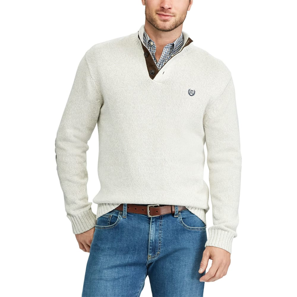 Chaps Men's Pre-Twist Button-Mock Long-Sleeve Sweater - White, M