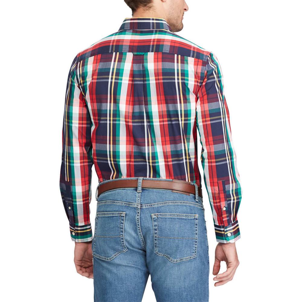 CHAPS Men's Stretch Poplin Plaid Long-Sleeve Shirt - NEWPORT NVY-001