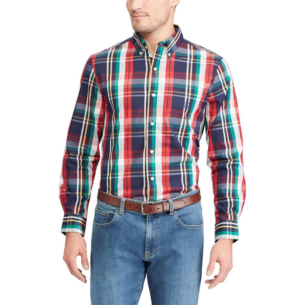 CHAPS Men's Stretch Poplin Plaid Long-Sleeve Shirt - NEWPORT NVY-001