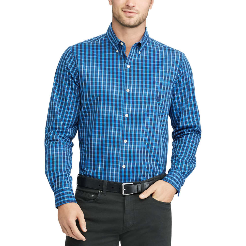 Chaps Men's Stretch Grid Poplin Long-Sleeve Shirt - Blue, M