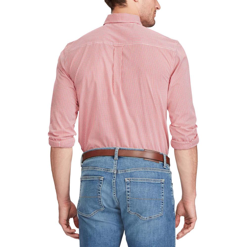 CHAPS Men's Stretch Gingham Poplin Long-Sleeve Shirt - CRUISE RED-002