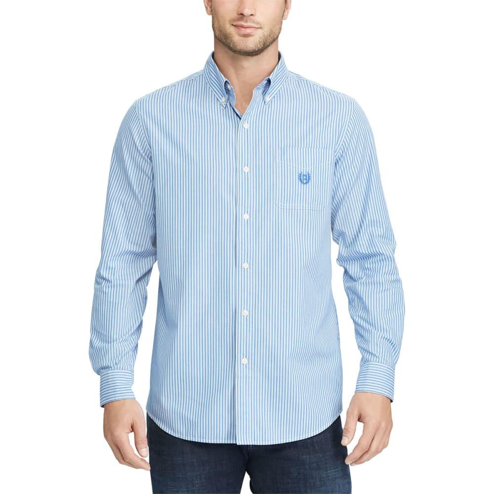 Chaps Men's Stretch Stripe Poplin Long-Sleeve Shirt - Blue, M