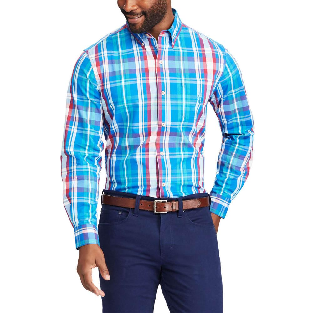 CHAPS Men's Stretch Poplin Medium Plaid Long-Sleeve Shirt - DAKOTA BLU-001