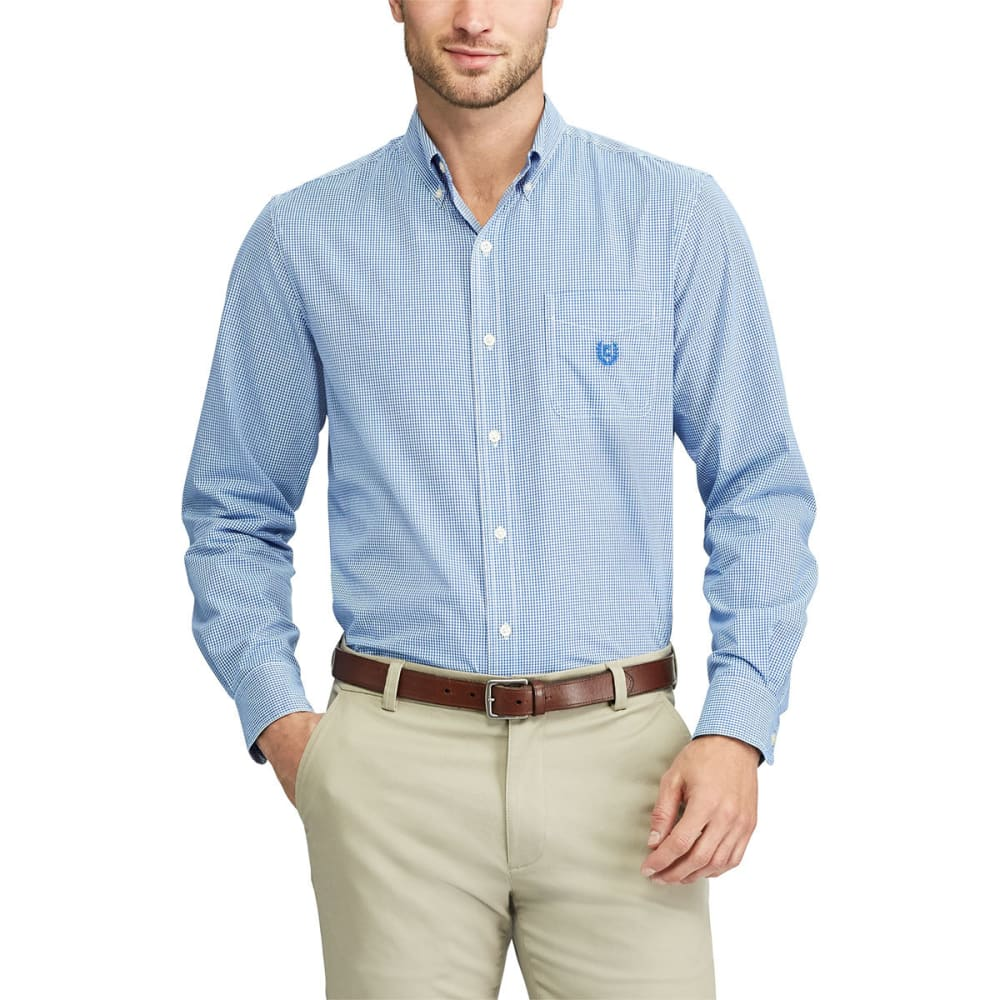 CHAPS Men's Stretch Gingham Easy Care Button Down Shirt - IMPERIAL BLU-006
