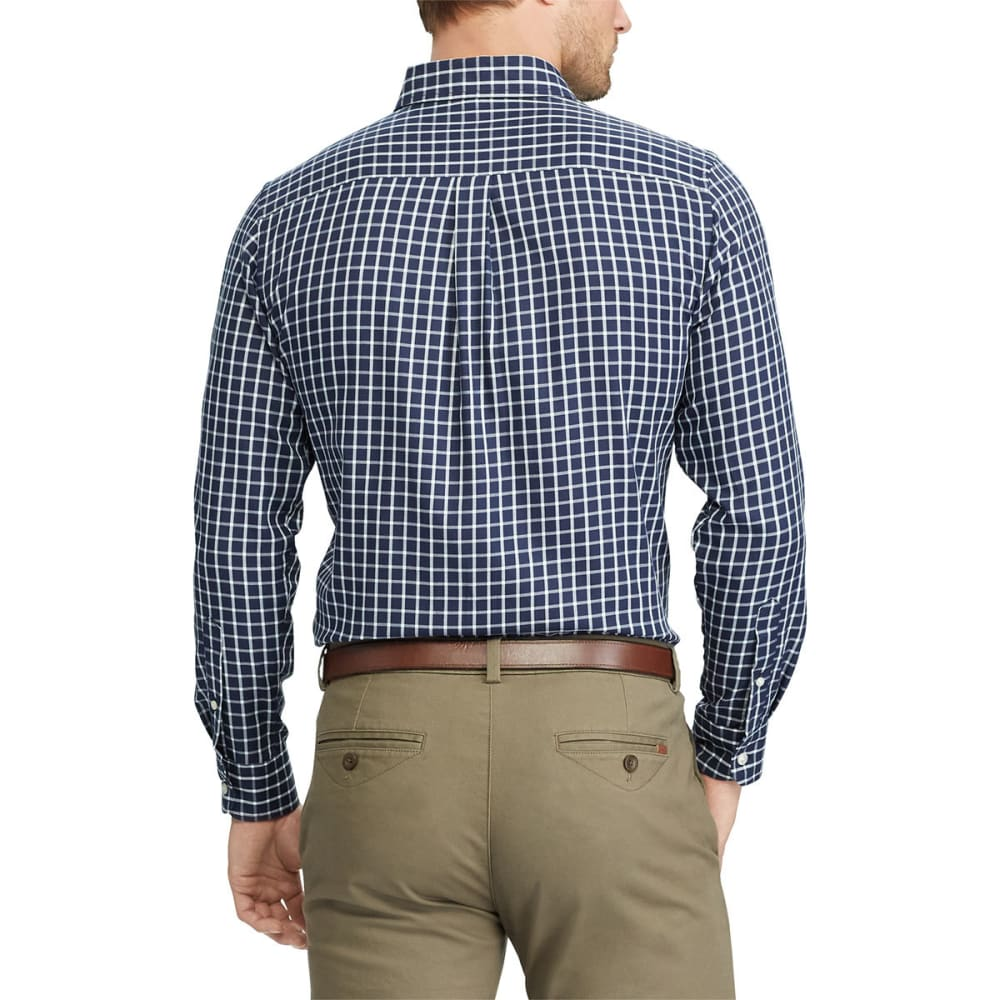 CHAPS Men's Easy-Care Tattersall Long-Sleeve Shirt - NEWPORT NVY-003