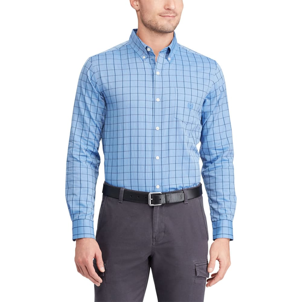 Chaps Men's Easy-Care Herringbone Tattersall Long-Sleeve Shirt - Blue, M