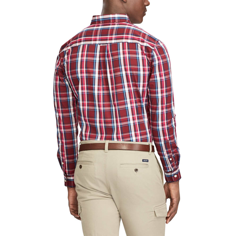 CHAPS Men's Easy Care Button Down Woven Shirt - DEEP RUBY-002