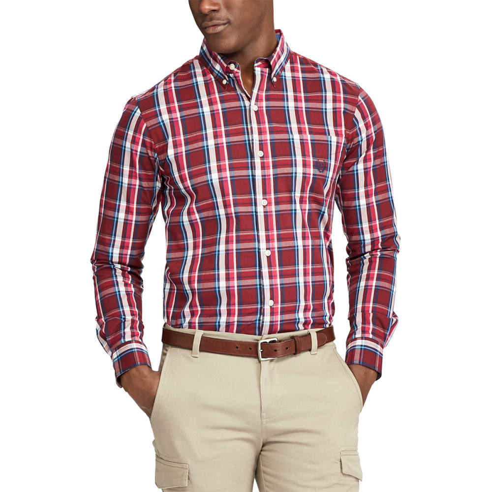 CHAPS Men's Easy Care Button Down Woven Shirt - DEEP RUBY-002
