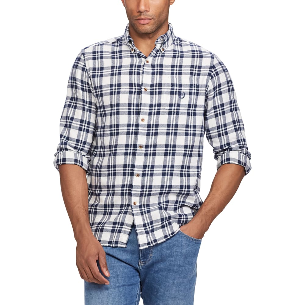 CHAPS Men's Plaid Flannel Performance Long-Sleeve Shirt - WHITE SAND-004