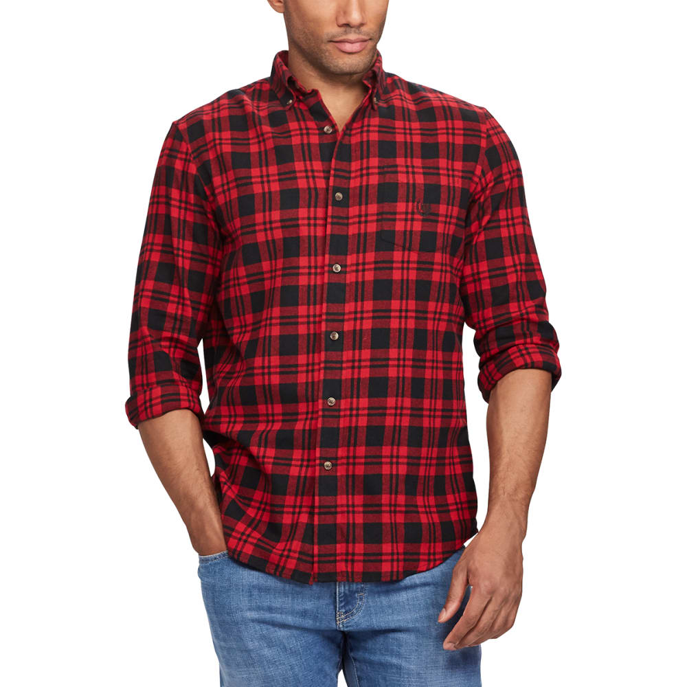 CHAPS Men's Plaid Flannel Performance Long-Sleeve Shirt - CHAPS RED-001