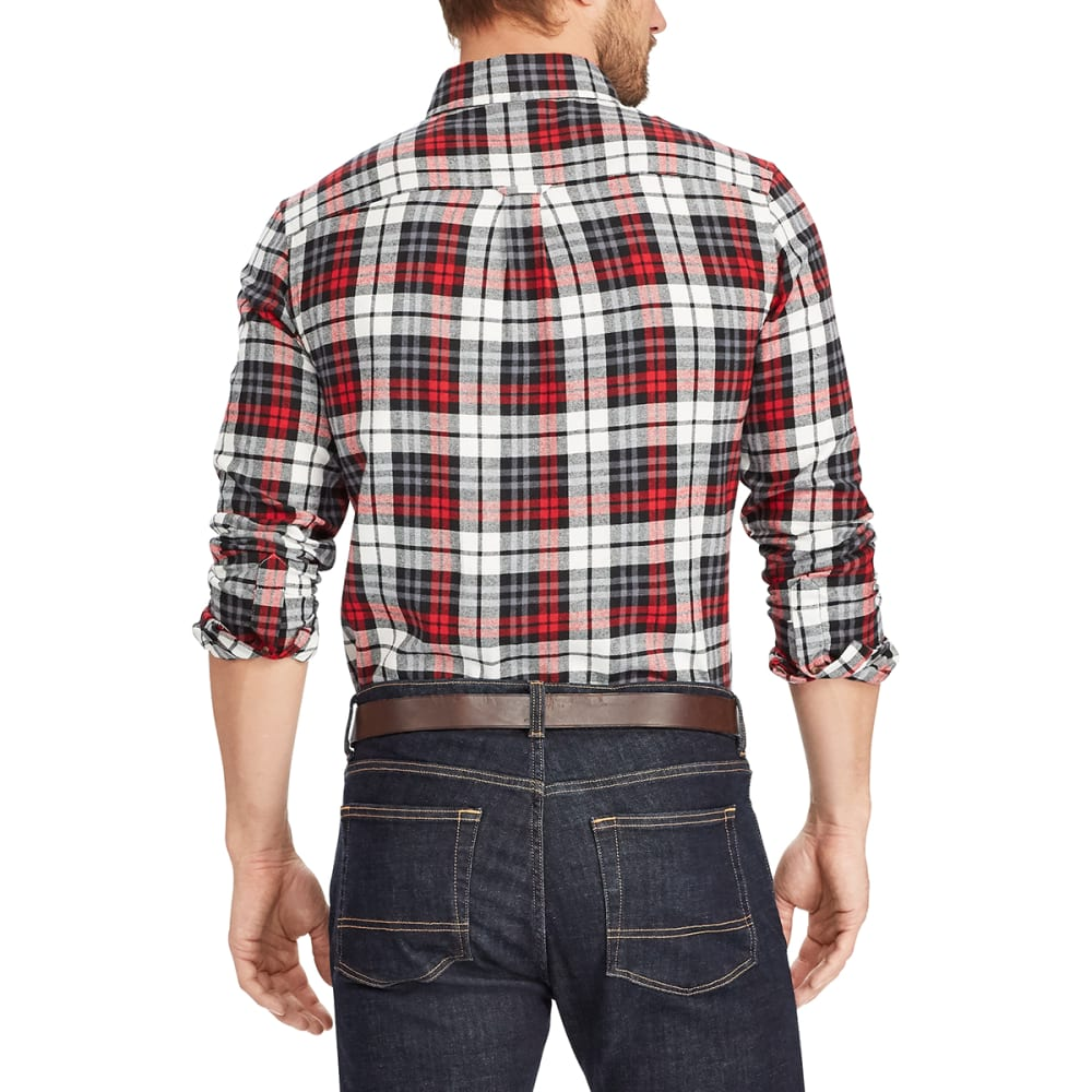 CHAPS Men's Plaid Flannel Performance Long-Sleeve Shirt - WHITE SAND-002