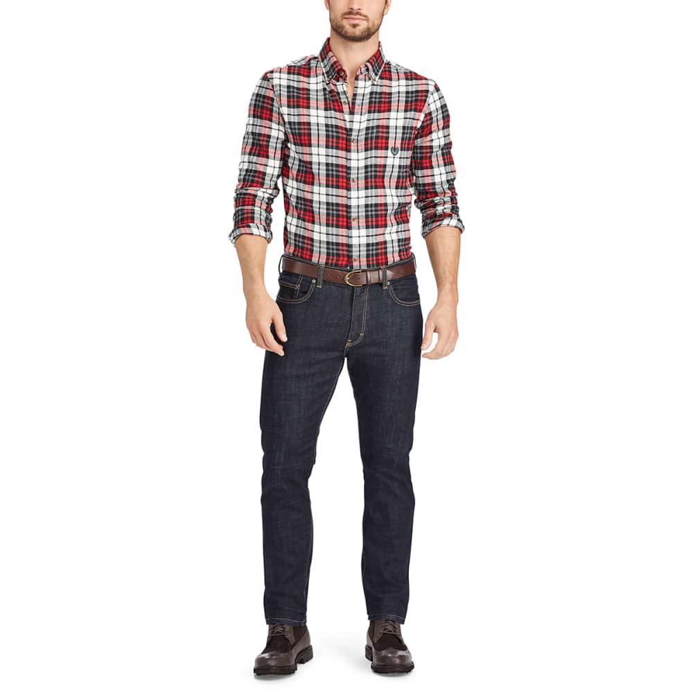 CHAPS Men's Plaid Flannel Performance Long-Sleeve Shirt - WHITE SAND-002