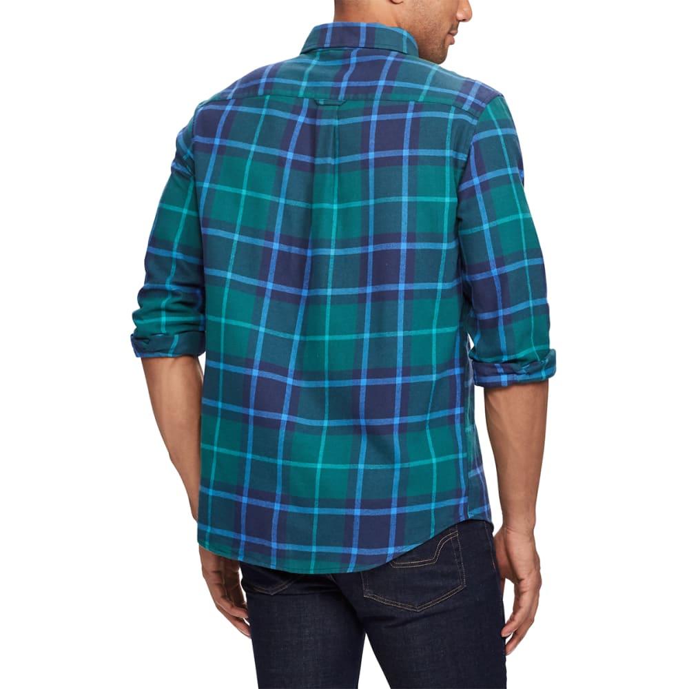 CHAPS Men's Plaid Flannel Performance Long-Sleeve Shirt - TEAL BLUE-001