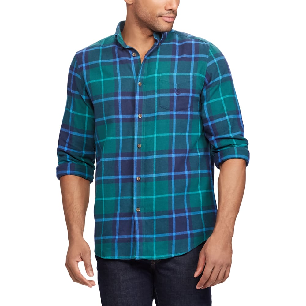 Chaps Men's Plaid Flannel Performance Long-Sleeve Shirt - Blue, M