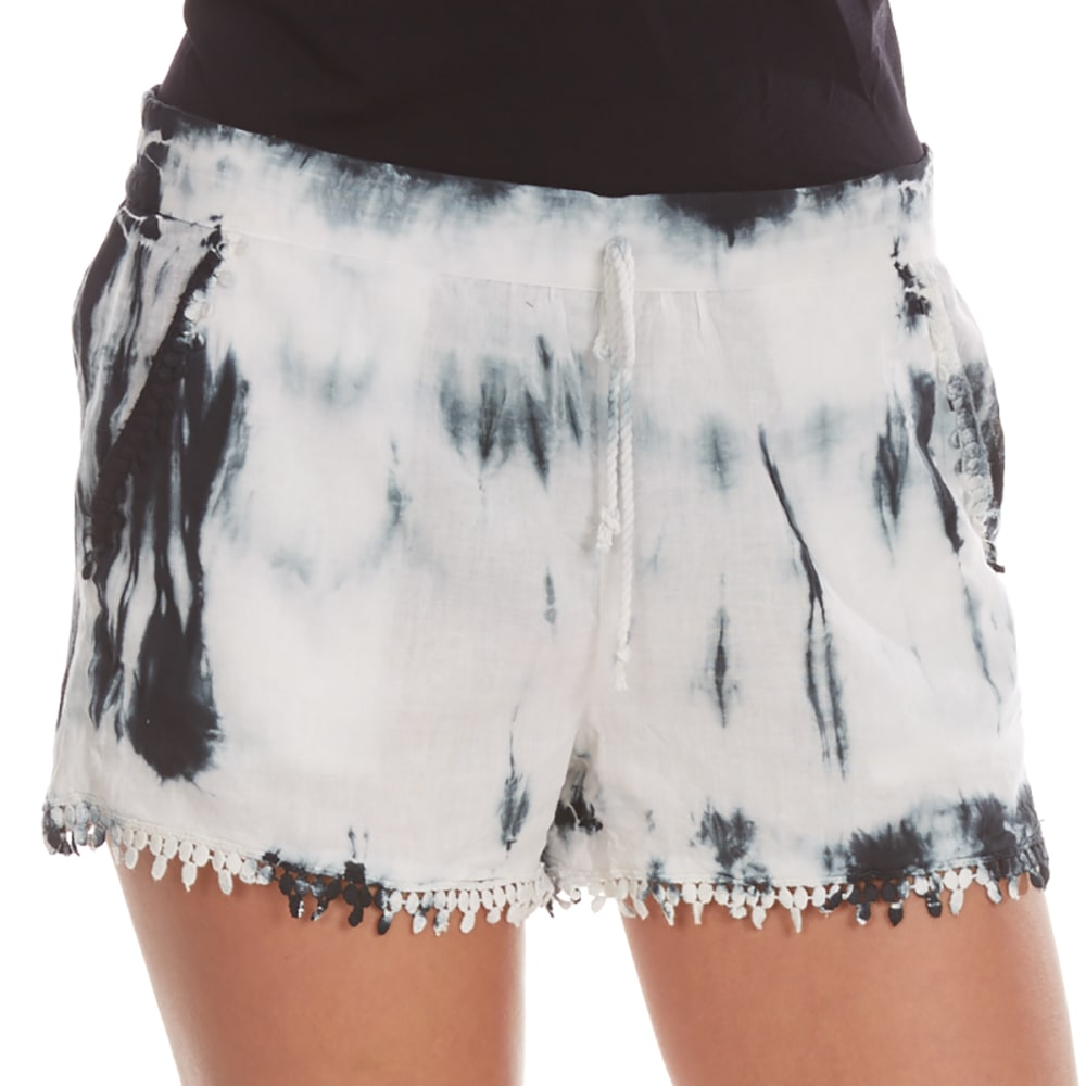 Almost Famous Juniors Tie Dye Crochet Trim Shorts - Black, M