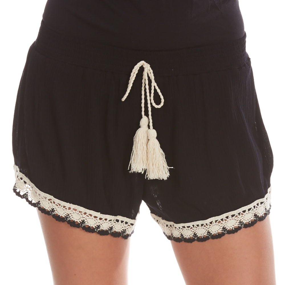 ALMOST FAMOUS Juniors' Crochet Trim Soft Shorts - BLACK