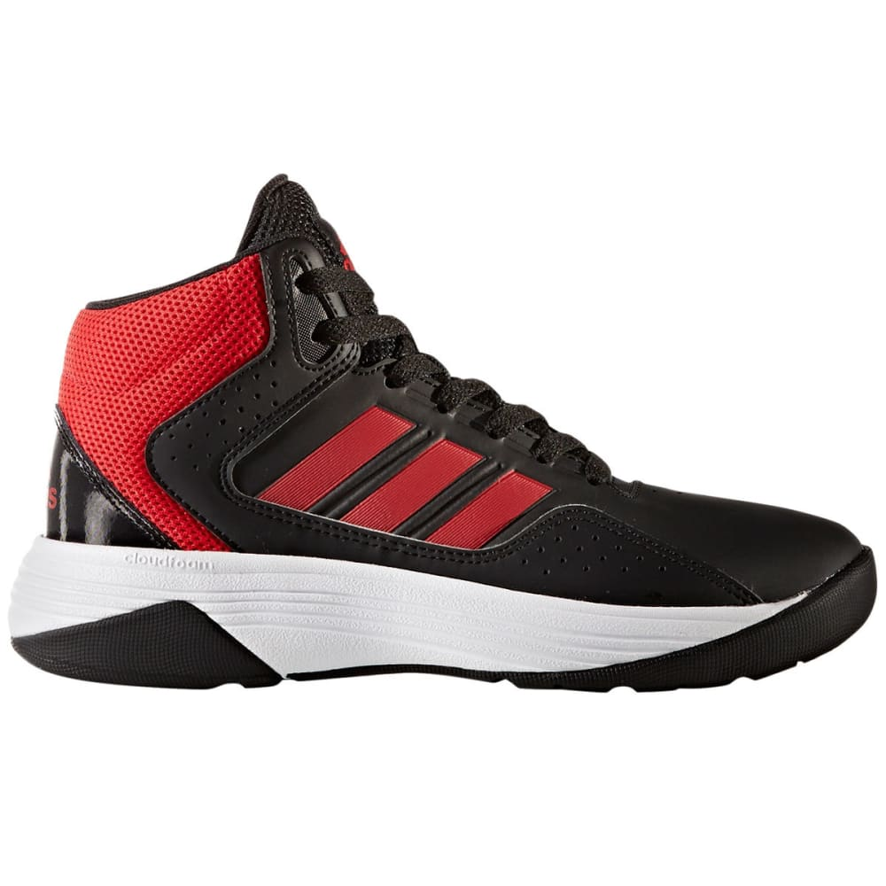 ADIDAS Boys' Cloudfoam Ilation Mid Basketball Shoes, Black/Red - BLACK/RED