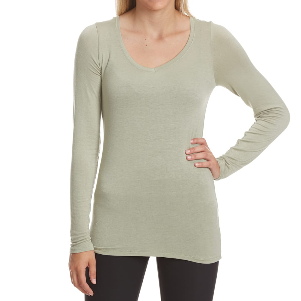 POOF Juniors' V-Neck Long-Sleeve Tee - GREEN SAGE