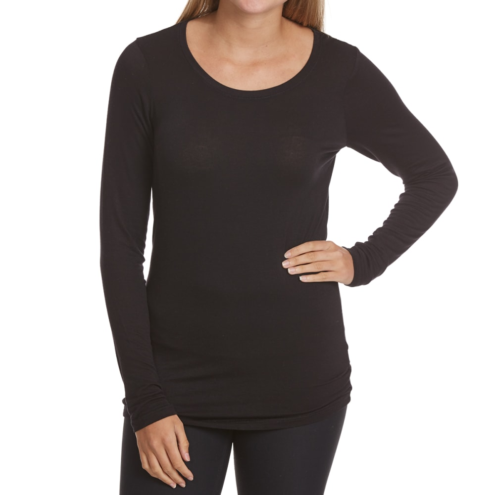 POOF Juniors' Crewneck Long-Sleeve Tee - BLACK
