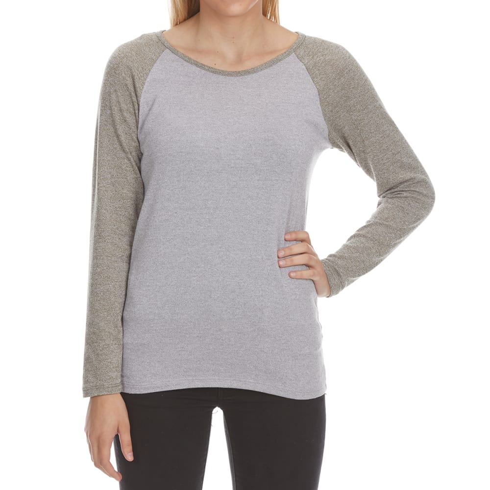 POOF Juniors' Marled Color-Blocked Long-Sleeve Baseball Tee - BURNT OLIVE/GREY