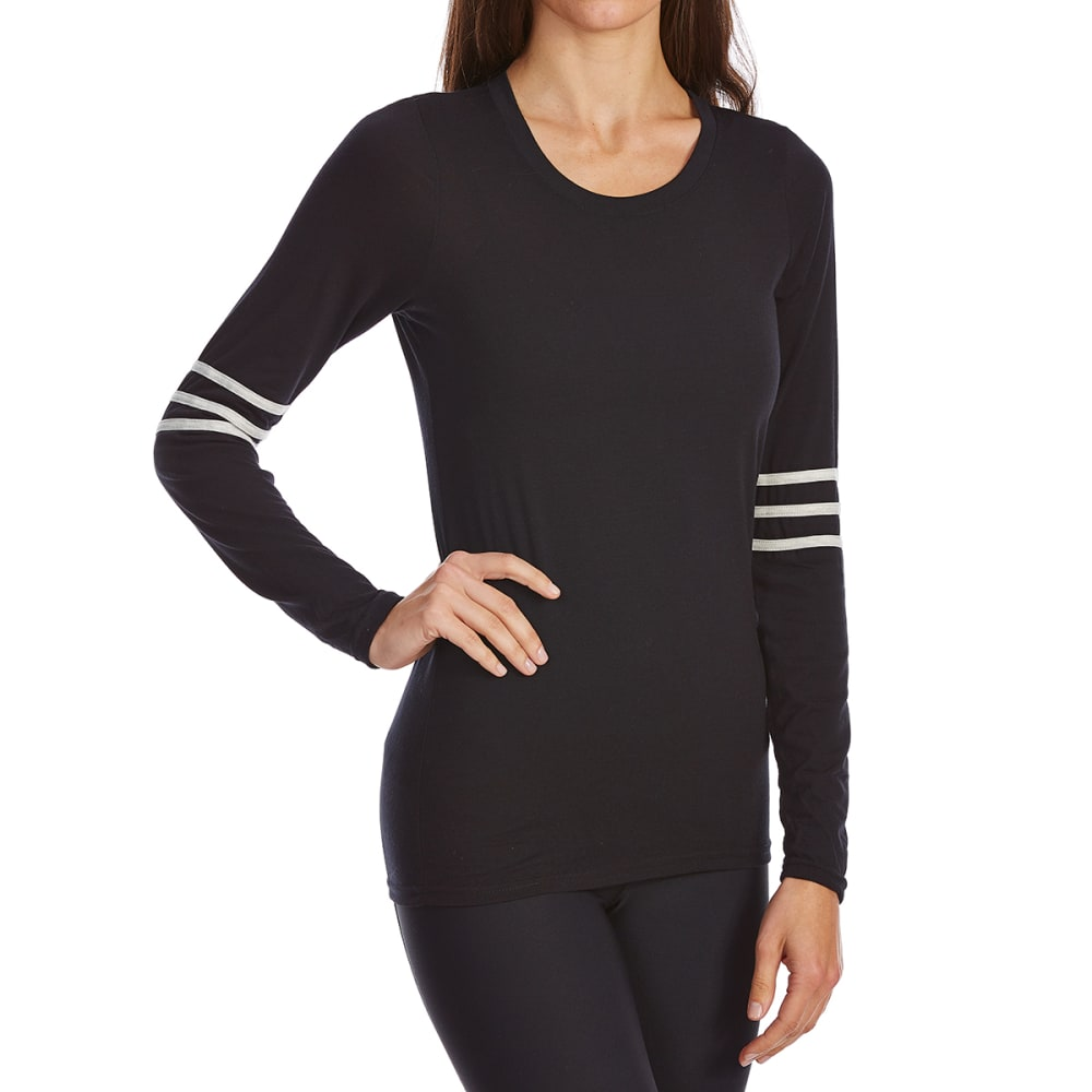 POOF Juniors' Football Stripe Long Sleeve Tee - BLACK/WHT COMBO