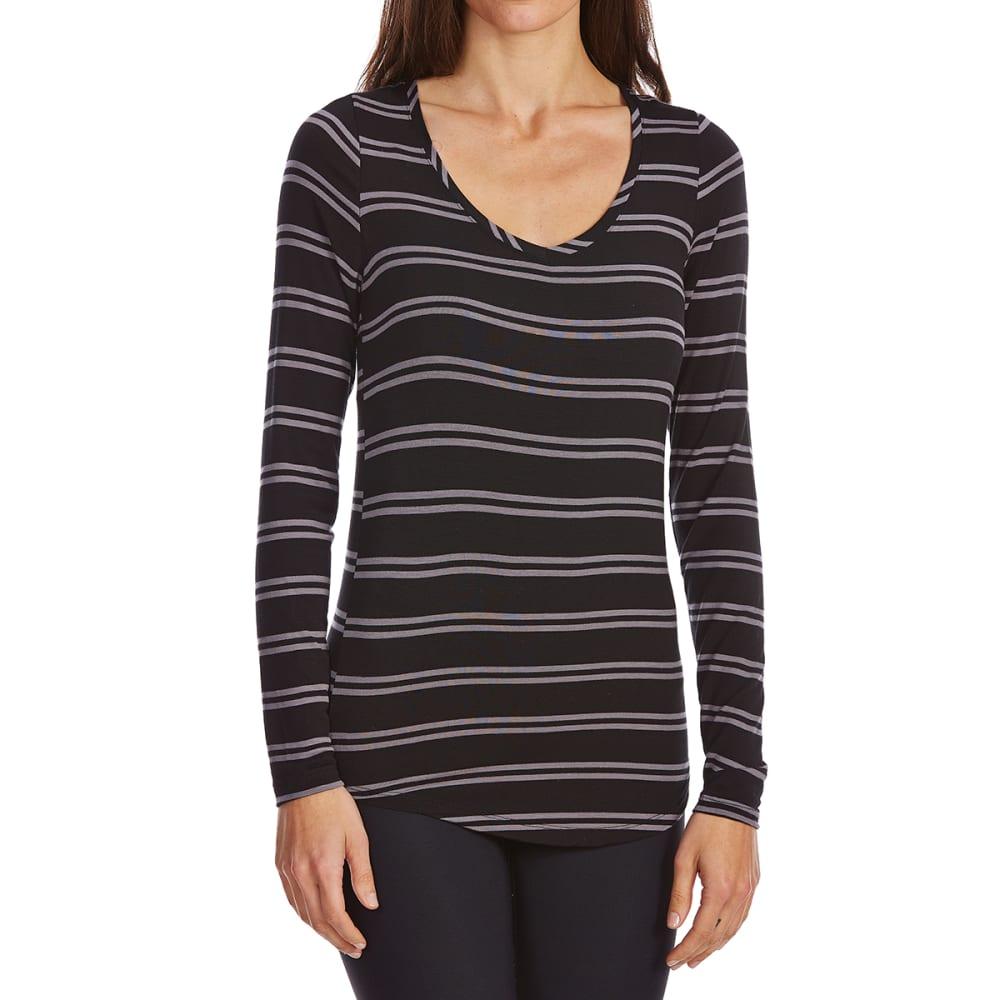 POOF Juniors' Stripe V-Neck Long Sleeve Tee - BLACK/GREY STRIPE
