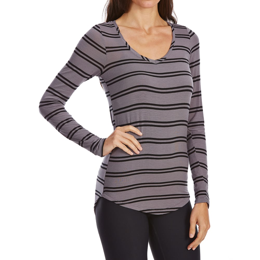 POOF Juniors' Stripe V-Neck Long Sleeve Tee - GREY/BLACK STRIPE