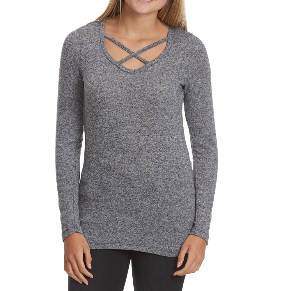 POOF Juniors' Marled X-Front Long-Sleeve Tee - BLK/WHT MARL