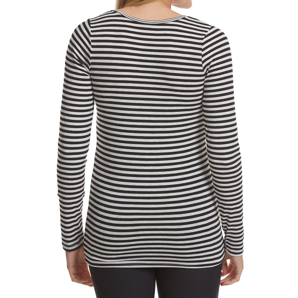 POOF Juniors' Striped X-Front Long-Sleeve Tee - BLACK/WHT STRIPE