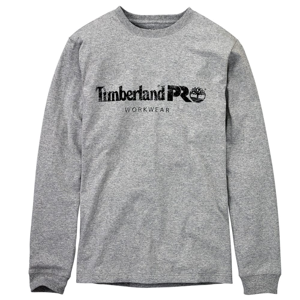 TIMBERLAND PRO Men's Cotton Core Chest Logo Long-Sleeve Shirt - C81 LIGHT GREY