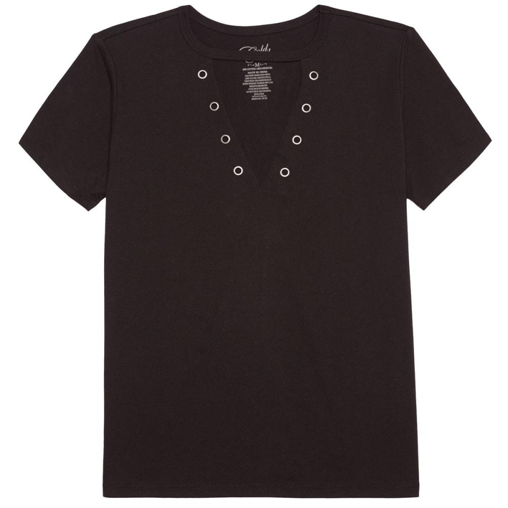 COLD CRUSH Juniors' Grommets Short-Sleeve Tee - BLACK