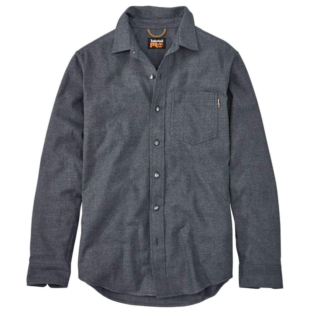 TIMBERLAND PRO Men's R-Value Heather Flannel Long-Sleeve Work Shirt - 440 NAVY HEATHER