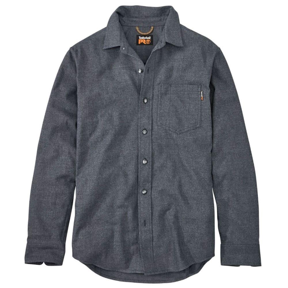TIMBERLAND PRO Men's R-Value Heather Flannel Long-Sleeve Work Shirt - 440 NAVY HEATHER