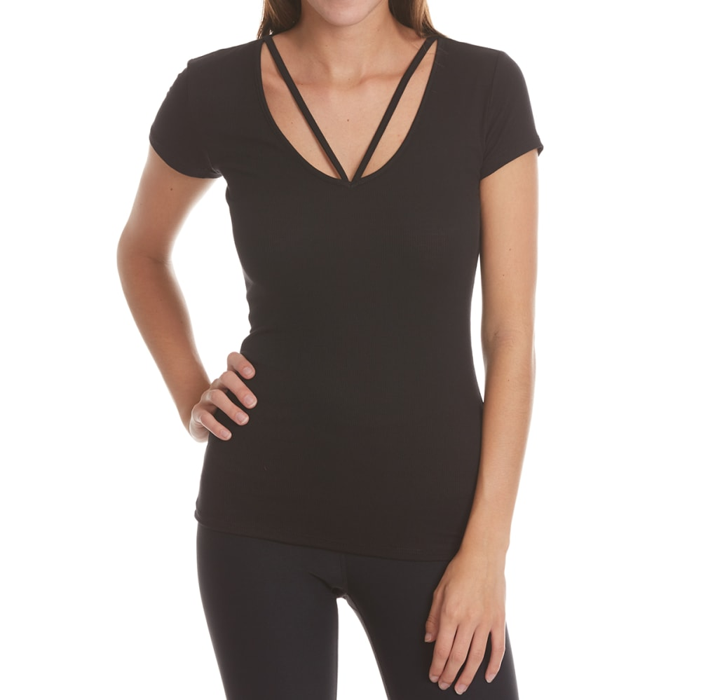 AMBIANCE APPAREL Juniors' Cage Neck Short-Sleeve Top - BLACK