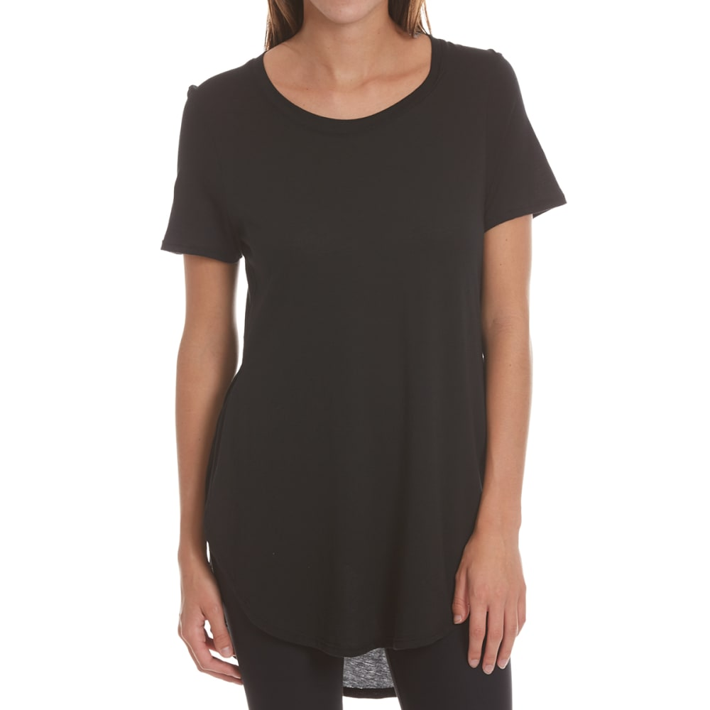 AMBIANCE APPAREL Juniors' Open-Side Oversized Short-Sleeve Tee - BLACK