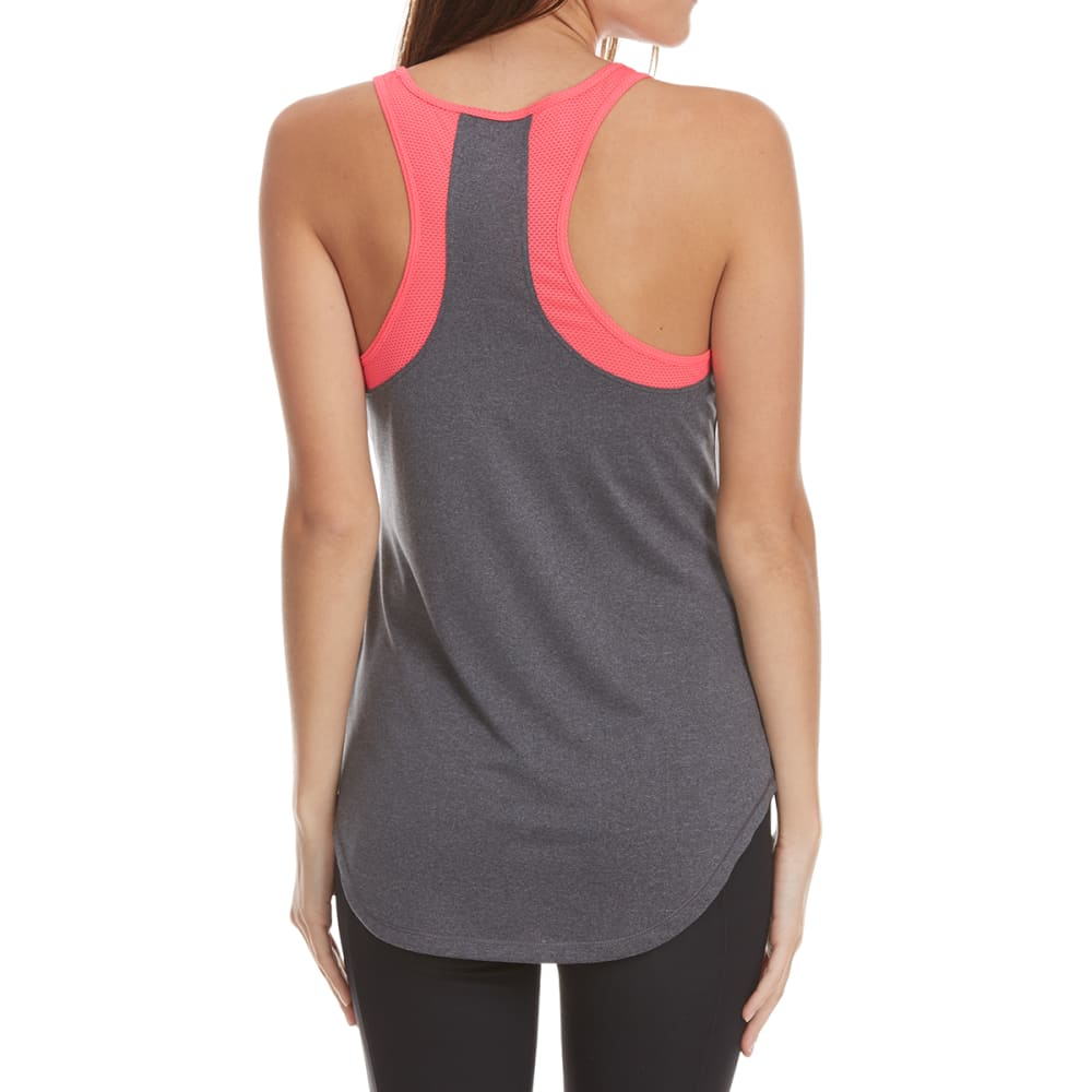 LAYER 8 Women's Color-Block Racerback Tank Top - EBONY HTR/PINK GLAM