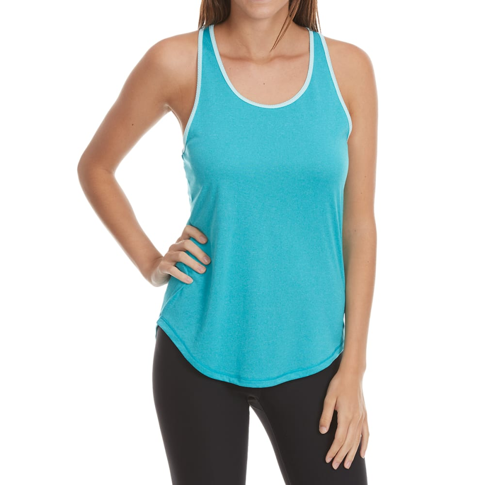 LAYER 8 Women's Color-Block Racerback Tank Top - PEACOCK